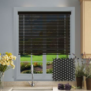 Perforated Black Satin Aluminium venetian blind